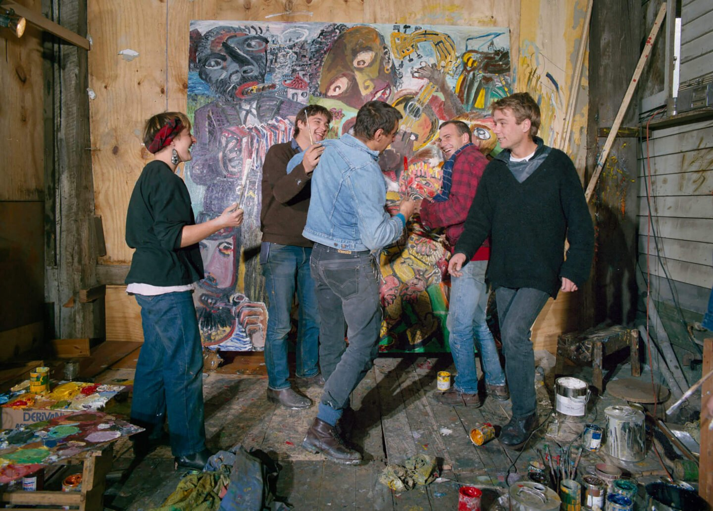 The ROAR artists working on the commissioned murals for the Australian National Gallery in Canberra, 1986. From left to right: Karen Hayman, Mark Howson, Pasquale Giardino, Mike Nikhols, David Larwill, 1986. Photo: John Gollings.